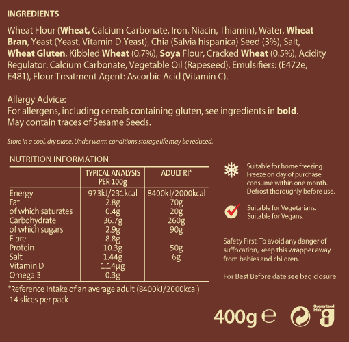 Wholegrain Chia Nutritional Information